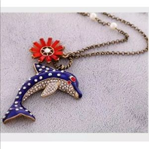Pearl Rhinestone Jumping Dolphin Flower Necklace